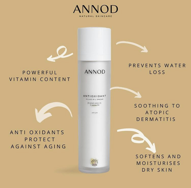 A social media post of Annod listing five benefits of a 50ml bottle of Annod's Antioxidant Olive Oil Cream