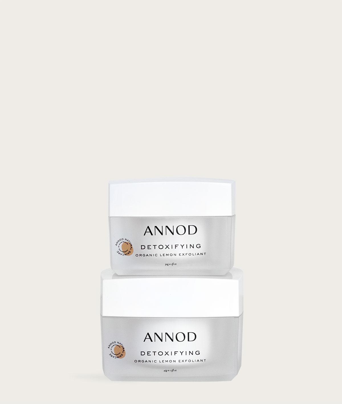 A set of Detoxifying Organic Lemon Exfoliant 45g and 30g