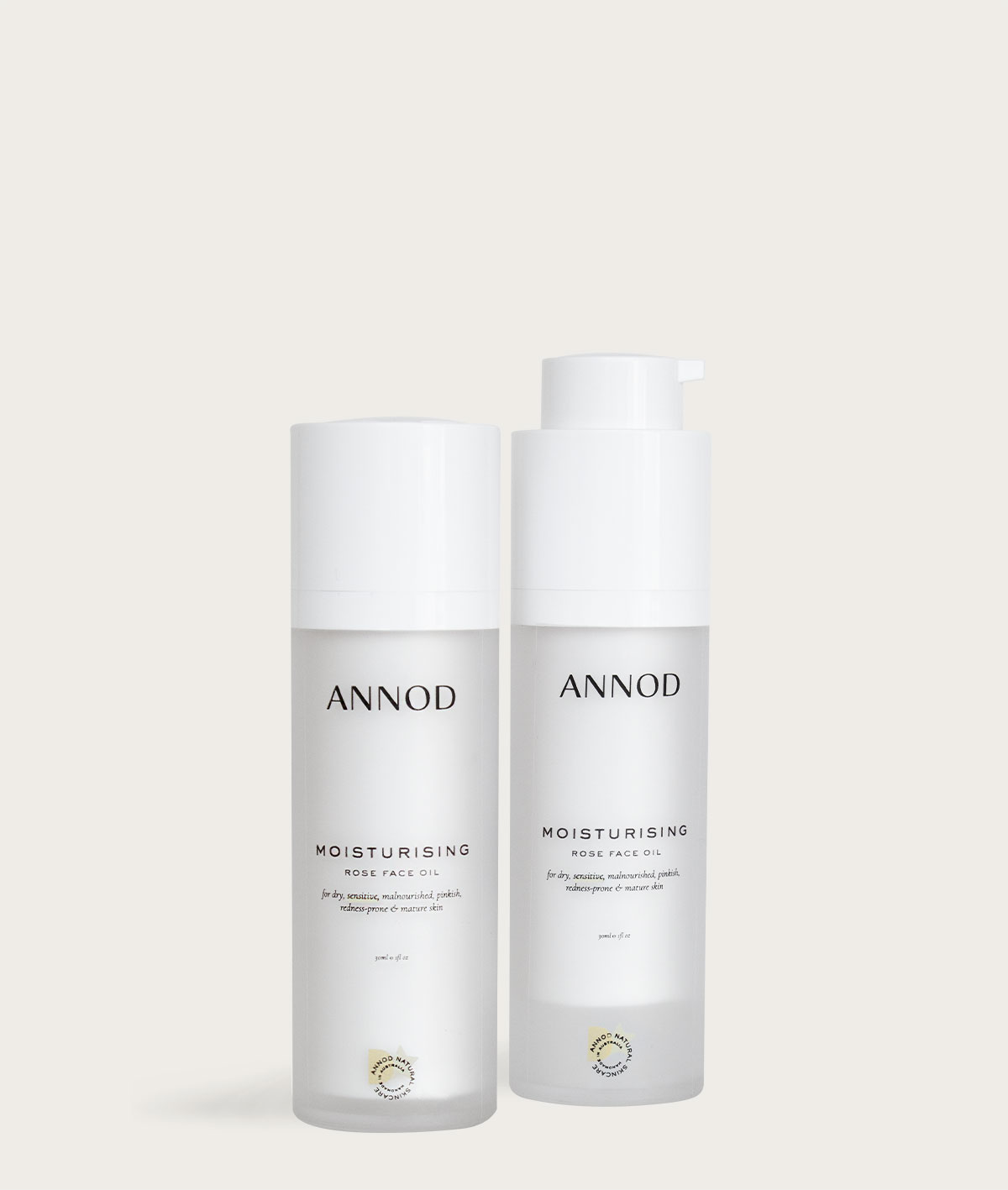 A set consisting of two 30ml bottles of Moisturising Rose Face Oil