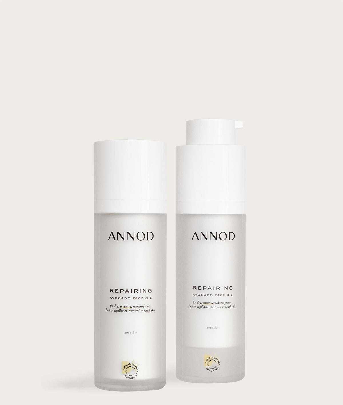 A set consisting two 30 ml bottles of Repairing Avocado Face Oil